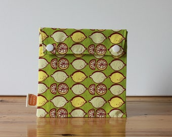 Ready-to-ship! Reusable sandwich bag, reusable snack bag, fabric bag, Retro lemons print [#121], eco friendly, no waste lunch box, useful