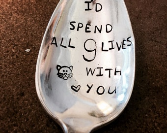 Stamped Silver Spoon, Valentines Day, Gift For Cat Lover, Stamped Silver, Coffee Spoon, Cat Lover, Cat Person, Coffee Spoon, Crazy Cat Lady