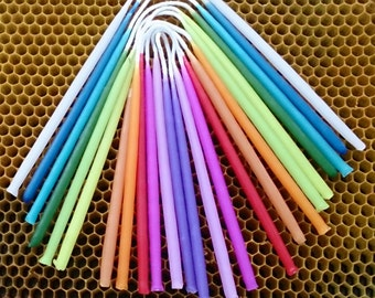 Birthday Candles,12 colours, 24 Beeswax Candles.