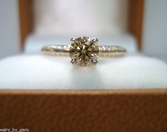 14K Yellow Gold Champagne & White Diamonds Engagement Ring 0.76 Carat Certified HandMade Ring