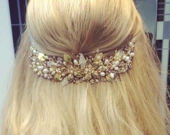 Blush-Rose Wedding Hair Vine, Pearl and Crystal Hair Vine, Bridal Comb, Pink, Gold, Hairpiece,Tiara, Headdress, Hair Flowers