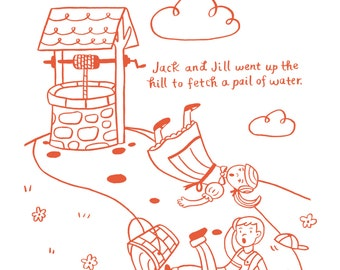 Jack and Jill - 5x7, 8x10, 11x14 Nursery Rhyme Art Print
