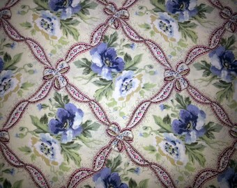 Swedish vintage 1960s quilt fabric in multicolor cotton and flower.