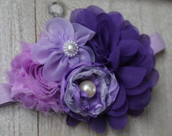 Pretty Purple Flower Headband- Baby Headband- Newborn Headband- Flower Girl Headband- Photo Prop Headband-Birthday Headband-Toddler Headband