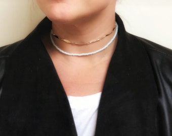 Gold and pale blue choker