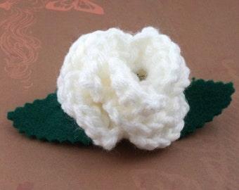 Crocheted Rose Barrette - White (SWG-HB-ZZ05)