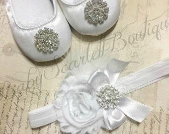 White Satin Baby Girl Shoes with Headband Set,Christening,Baptiam,Wedding