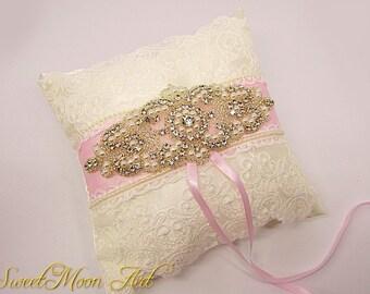 Pink Ring Bearer Pillow, Wedding Ring Pillow, Pink Wedding Pillow, Pink Ring Pillow, Shabby Chic Ring Pillow, Pink Ivory Ring bearer Pillow