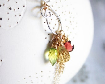 Sukhena /// sterling silver and gold necklace with gemstones by Jhumki - designs by raindrops
