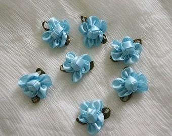 blue Satin Ribbon Flower Appliques - 40pcs