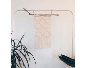 Macrame wallhanging boho decor driftwood home interior fibre art