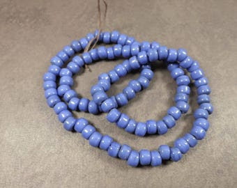 Glass Crow Beads, Opaque Blue, 9mm Glass Beads, 100 Bead Strand, Native American Jewelry Making, Tribal Supplies, C18