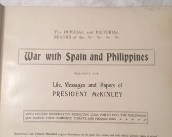 War with Spain and Phillipines - Historical Review of War with Spain - 1902 - Antique History Book