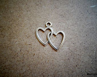 1 pendant Double hearts - love for creation
