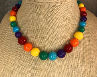 Statement Necklace, Rainbow, Chunky Necklace, Rainbow Bead Necklace, Beaded, Round Bead Necklace, Strand Necklace