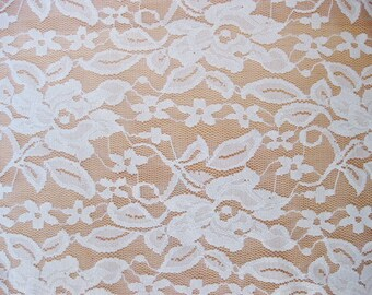 White 4 way stretch lace Fabric