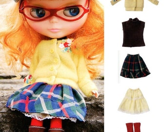 Kenner Blythe Doll Hipster Cardigan, Turtleneck Top, Skirt, Petticoat, Kangol Cap, socks set pdf E PATTERN in Japanese & Titles in English