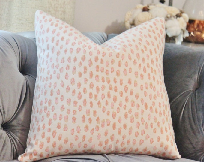 Pink Pillow Cover - Outdoor Pillow Cover - Peach Pink Animal Pillow Covers - Designer Decorative Leopard Print - Modern Blush Pink Pillow