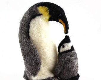 Needle felted Penguin and Baby, wildlife scupture, gift, handmade gift, christmas gift