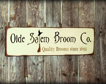 Witch Sign, Halloween Sign , Fall Decor, Harvest Autumn Sign, Olde Salem  Broom Co, Rustic Wood Sign, Wood Sign Saying, Witch Decor
