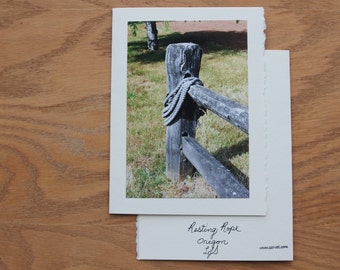Ranch Farm Rope on Fence rustic rural farm, friendship, get well, thinking of you, encouragement, sympathy, coworker, giftcard enclosure