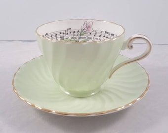 Vintage Ansley teacup and saucer featuring Ontario's Trillium flower.