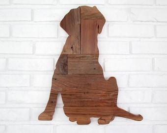 Rustic Lab Wood Dog Sign Labrador Reclaimed Wood Dog Wall Art #7009