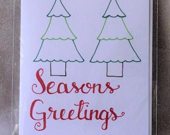 """Hand-drawn Holiday Card - """"Seasons Greetings"""""""