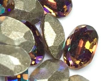 Swarovski topaz rhinestone, 6x4 Oval Rhinestones Light Smoked Topaz AB Art # 4120 Qty 6 For Crystal Clay