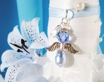 Something Blue Wedding Bouquet Charm Swarovski Crystal Angel Bridal Bouquet Charms