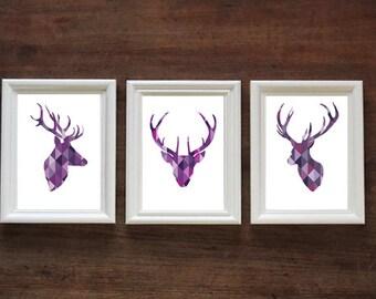 Geometric Purple Stag Head Set of 3 | Stags / Deer | PRINT
