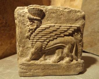 Mesopotamia art - Assyrian winged bull relief sculpture amulet