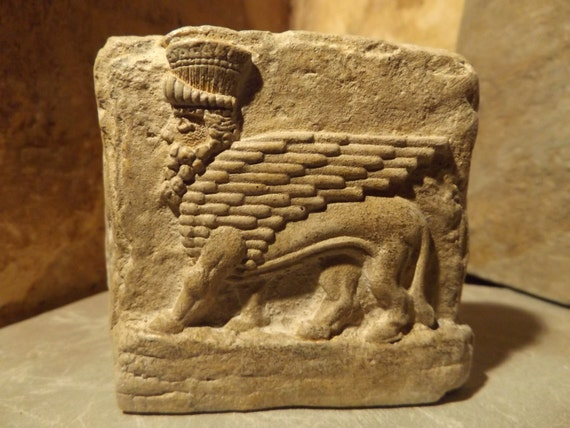 Mesopotamia art assyrian winged bull relief sculpture amulet