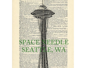 Space Needle Seattle Dictionary art vintage washington architecture on Upcycled Vintage Dictionary Paper - 7.75x11