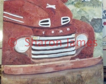 "Smile #3. 1950 Ford P/U Smile, Acrylic Painting by Sharon James, 12""x12"""