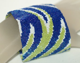 Swoosh ... Peyote Bracelet . Beadwoven Cuff . Abstract . Wide . Bold . Royal Blue . Lime Green . Snow White . Movement . Classic Colors