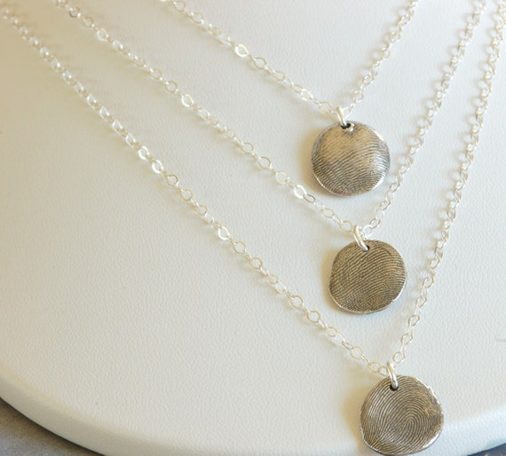 Mother-in-law Surprise Layered Thumbprint Charm Necklace