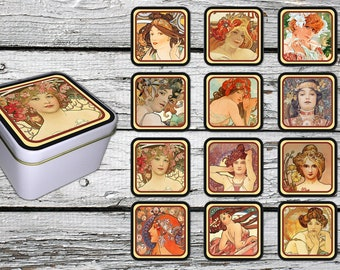 Alfons Mucha Style on 12 Fridge Magnets - with a  gift box.  FREE SHIPPING