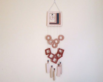 Ceramic Wall Hanging / Wind Chime / Earth Toned Colors / Geometric Shapes / Southwest / Natural Decor