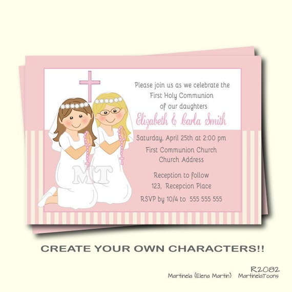 First Communion Invitation Twin Girls First Holy Communion