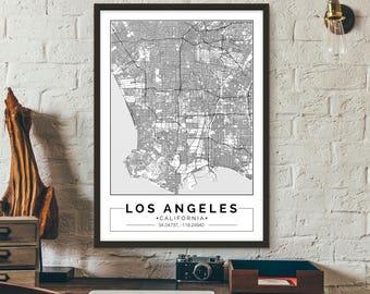 Los Angeles, City map, Poster, Printable, Print, Street map, Wall art
