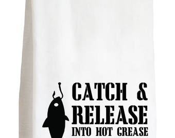 CATCH AND RELEASE - 100% Cotton Flour Sack Kitchen Tea Towel