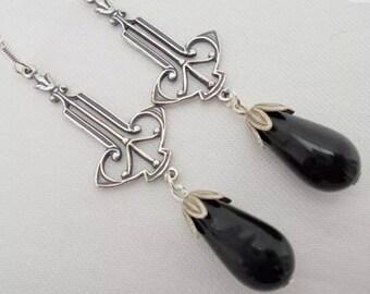 Art Deco Earrings Art Nouveau Earrings Small Drop Earrings Black Earrings