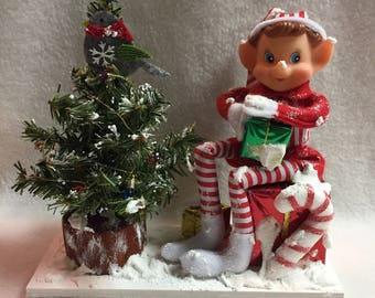 Elf with Decorated Snowy Christmas Tree Display (#034)
