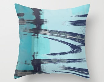 Abstract Throw Pillow Cover Teal Aqua Navy Grey Modern Home Decor Living room bedroom accessories Cushion Decorative Pillow Cover