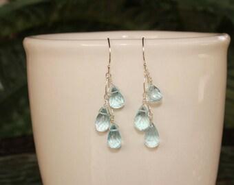 Blue Topaz Earrings, December Birthstone Jewelry, Minimalist, Simple Blue Topaz, Delicate Earrings, Light Blue Gemstone, Blue Topaz Dangle