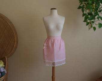 Vintage reversible pink lace and nylon pink apron
