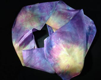 "Hand-dyed 100% silk scarf ""Orange Blooms on Purple"""
