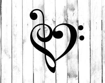 Heart Shaped Musical Notes - Car/Truck/Home/Laptop/Computer/Phone Decal