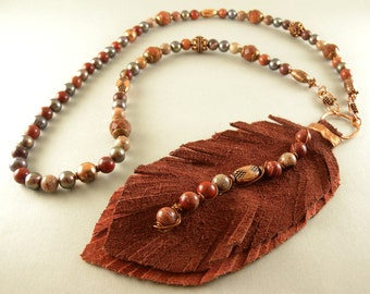 Handmade Leather Feather with Copper Stone and Pearl Necklace with Matching Earrings Free Shipping in the USA